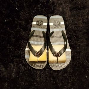 Tory Burch striped flip flops